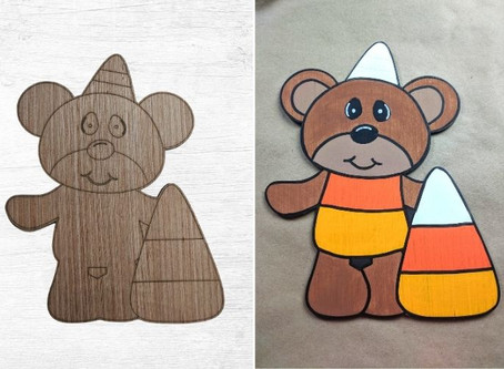 Painting a Halloween Bear Wood Cutout
