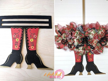 DIY Mrs. Claus Boots Wreath Rail