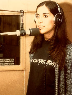 young Karen Littman in the studio