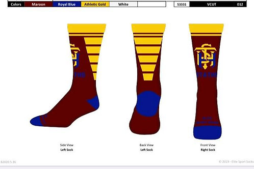 STATHS SOCKS - Maroon/Gold VCUT Crew $10 US
