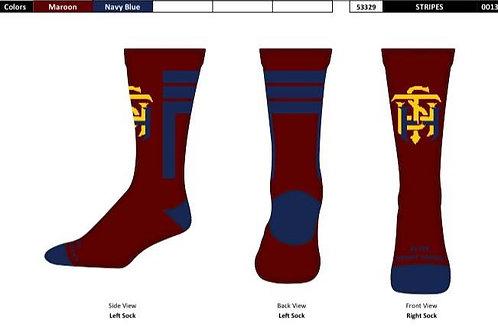 STATHS Socks - Maroon/Navy Stripe Crew $10 US