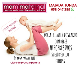 Yoga-pilates posparto con tu bebé +yoga y estimulación para bebés.Hipopresivos, fitnes y suelo pélvico con otras mamás en Mamimaternal Majadahonda, Las Rozas, Boadilla, Las Matas, Villanueva del Pardillo, Aravaca, Torrelodones, Pozuelo, Madrid Noroeste
