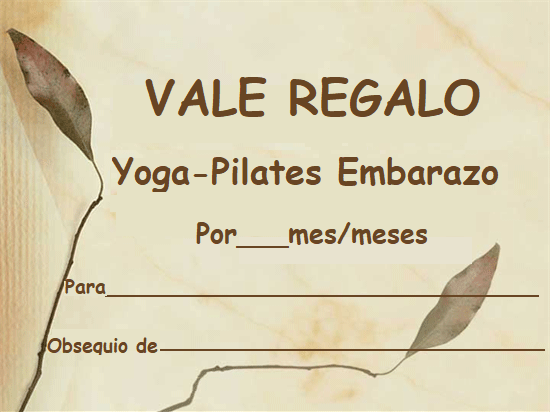 VALE REGALO DE YOGA PILATES EMBARAZO