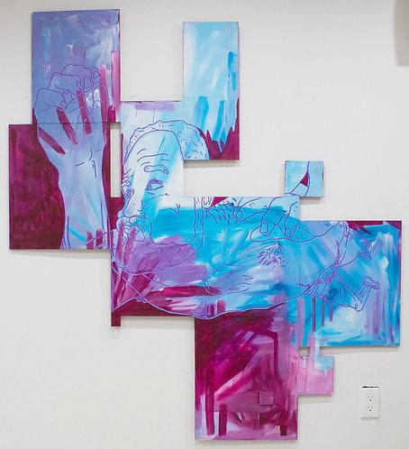 """Midnight Sky-Swim"" D Brian Burns II Acrylic on panel 2019 62 3/4 x 57 1/2 inch"