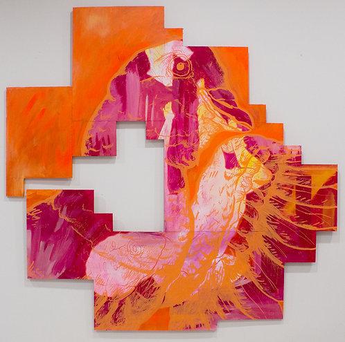 """Voyeuristic"" D Brian Burns II Acrylic on panel 4/16/2019 48 3/4 x 49 1/2 inches"