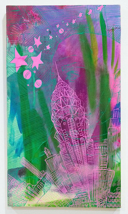"""Seeing Stars"" D Brian Burns II Acrylic on panel 12/09/2018 11 x 19 1/4 in"