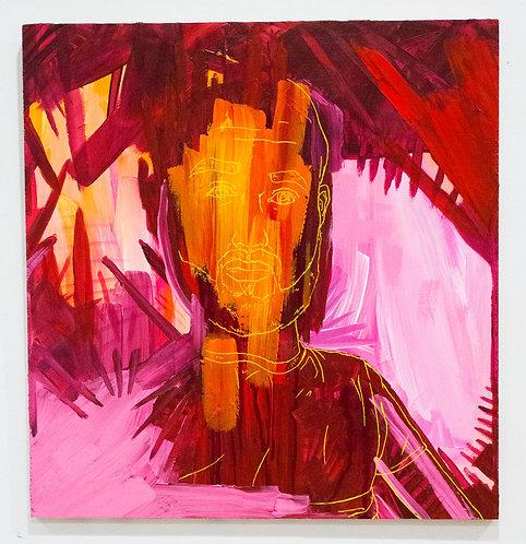 """On walls of winter"" D Brian Burns II Acrylic on panel 12/20/2018 16 1/2 x 17 1"
