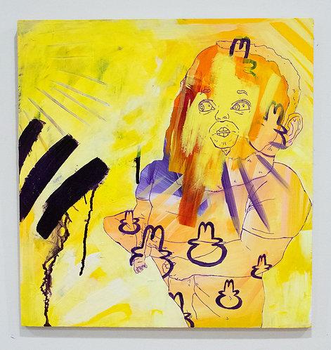 """Meditating Fat Buddha"" D Brian Burns II Acrylic on panel 12/26/2018 16 1/2 x 1"