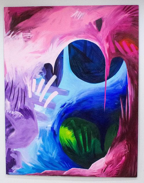 """""""Inside My Heart Valves"""" D Brian Burns II Acrylic on Panel 2018 4 x 5 feet"""