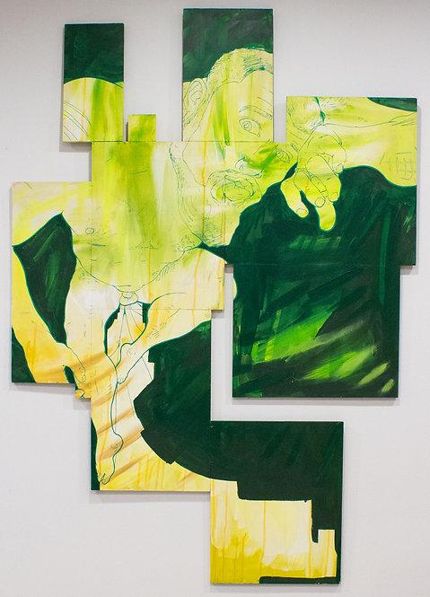 """Vaulting Overhead"" D Brian Burns II Acrylic on panel 2019 40 x 57 inches"