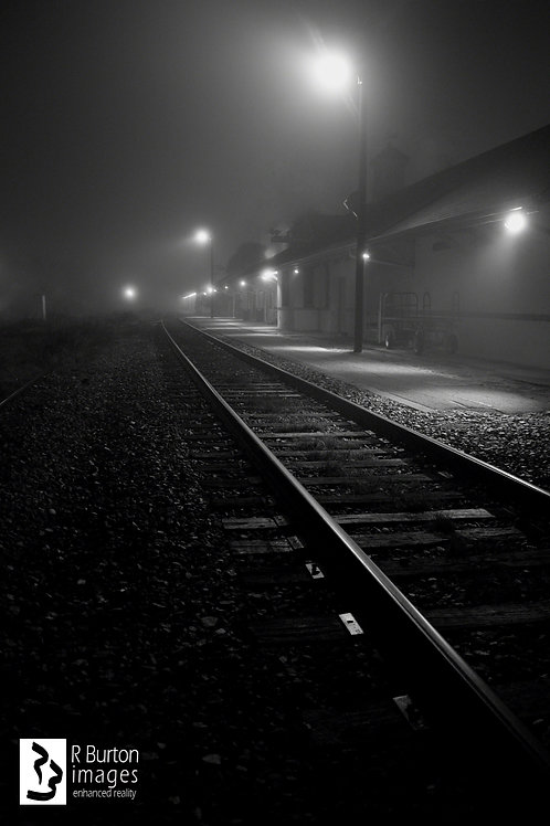 Foggy Station, matted for framing