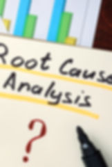 RCA - Root Cause Analysis concept. Notep
