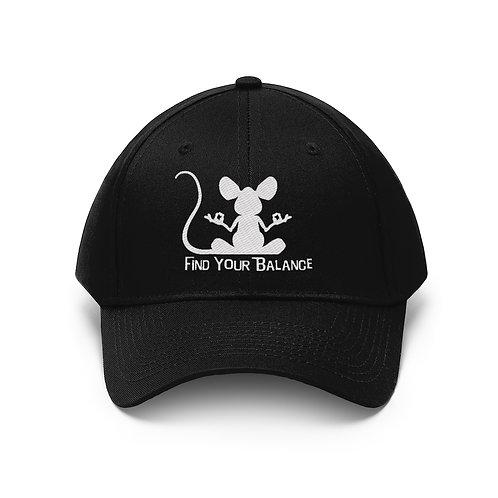 Mouse Balance Unisex Twill Hat (white)