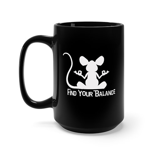 Mouse Balance Black Mug 15oz (white)