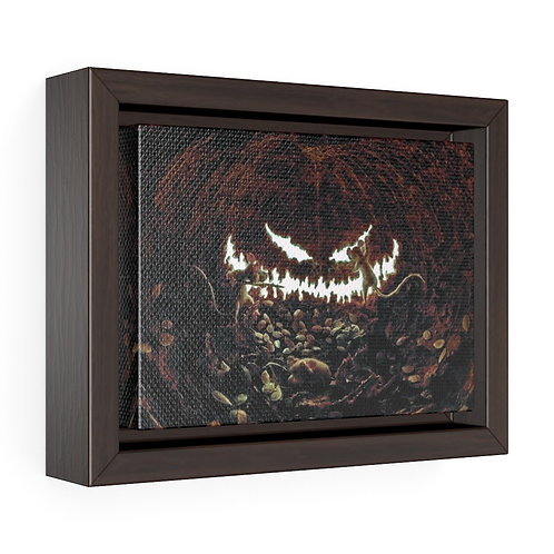 Pumpkin Smile with Mice Framed Premium Gallery Wrap Canvas