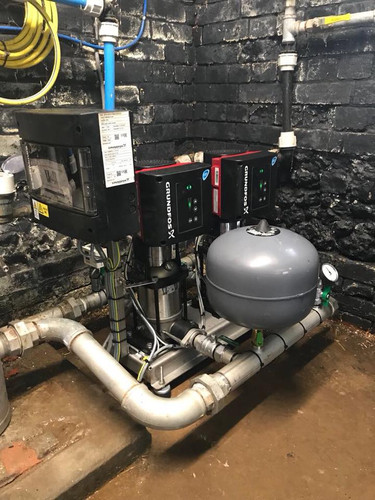 A Grundfos twin booster set installation