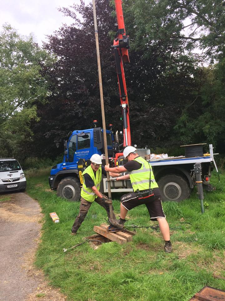 Lifting a borehole with our Unimog Crane