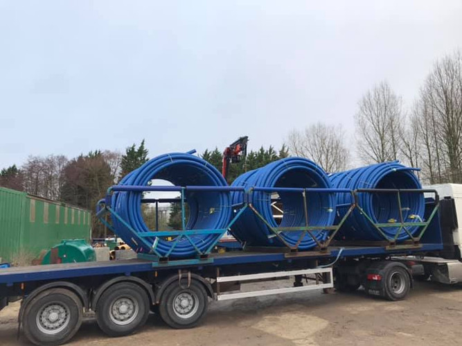 A recent delivery of 90mm MDPE.
