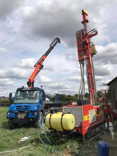 Our Unimog on site whilst drilling a bor