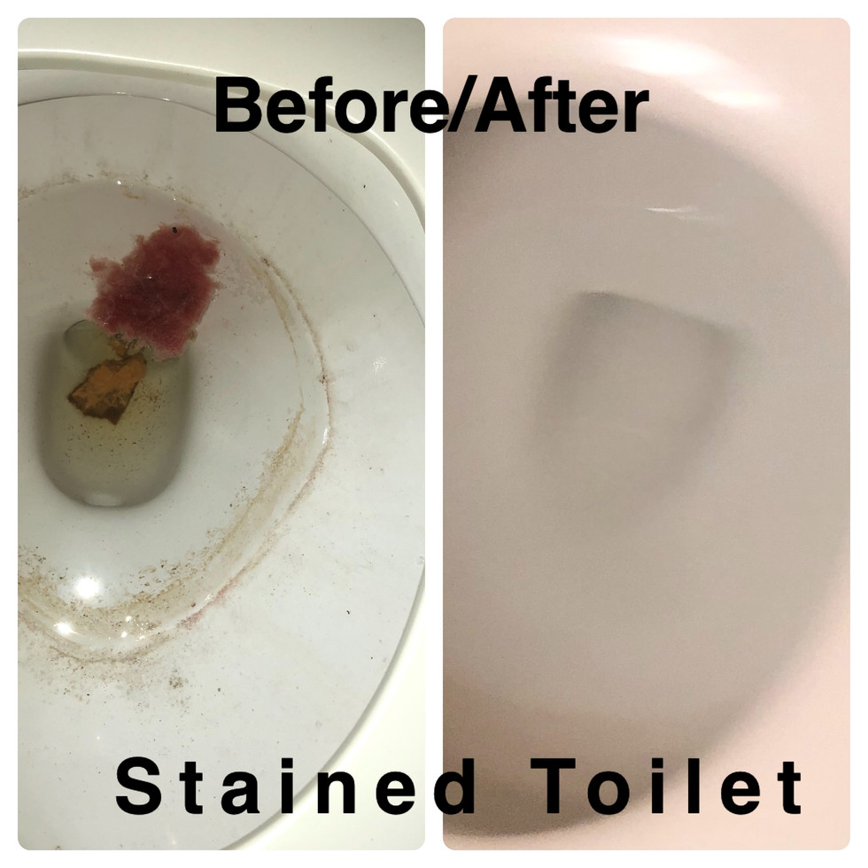 Badly stained Toilet before and after