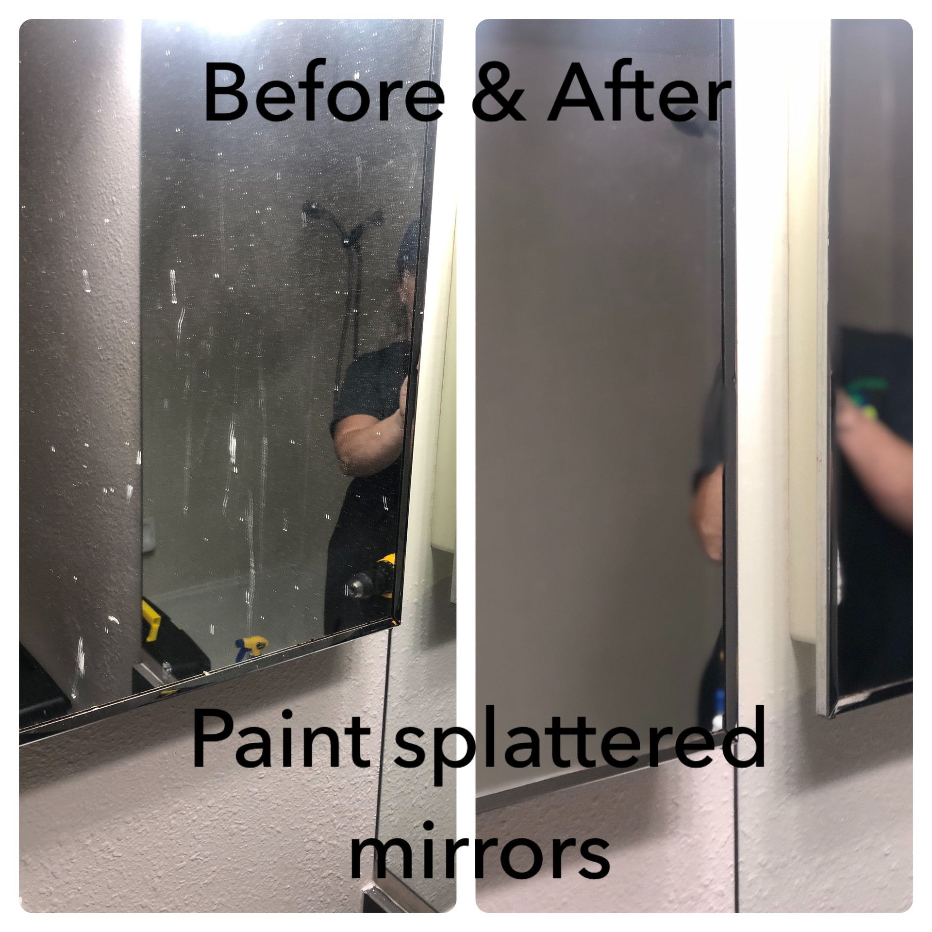 Dirty Paint splattered Mirror Before and After