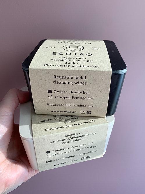 Paquet de 7 lingettes réutilisables fait de bambou et coton biologique