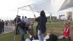 The tent goes down