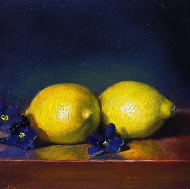 Violets and Lemons, oil painting by Scot Vorwaller