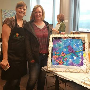 Diane Casper Allen and Nicole Knight, silk painting workshop