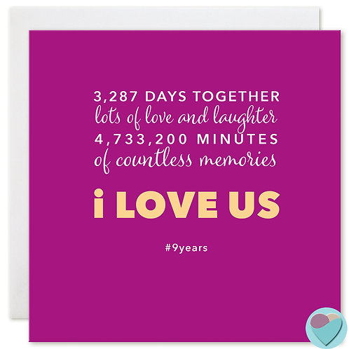 Anniversary Card 9 Years 3,287 DAYS TOGETHER