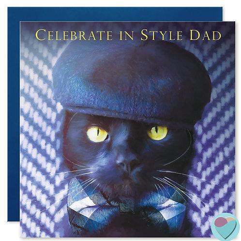 Black Cat Dad Birthday Card 'CELEBRATE IN STYLE DAD'
