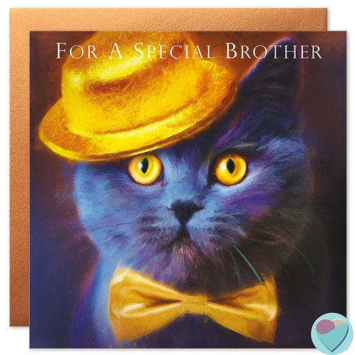 British Blue Cat Card 'FOR A SPECIAL BROTHER'
