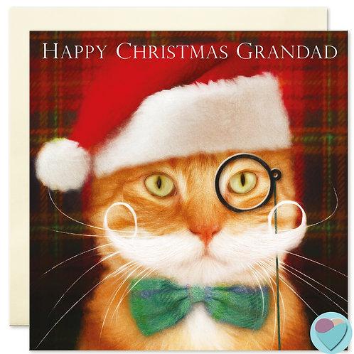 Ginger Cat Christmas Card Grandad 'HAPPY CHRISTMAS GRANDAD'