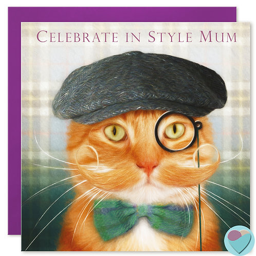 Ginger Cat Mum Birthday Card 'CELEBRATE IN STYLE MUM'