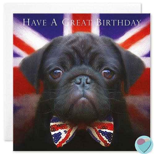Black Pug Birthday Card - 'HAVE A GREAT BIRTHDAY'