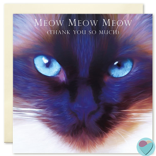 Cat Thank You Card 'MEOW MEOW MEOW' Thank You So Much'