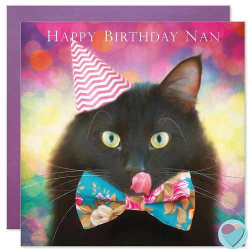 Black Cat Birthday Card Nan 'HAPPY BIRTHDAY NAN'