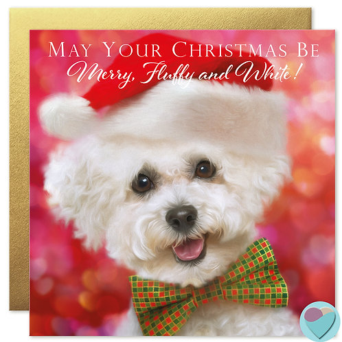 Bichon Frise Puppy Christmas Card 'MAY YOUR CHRISTMAS BE Merry Fluffy and White'