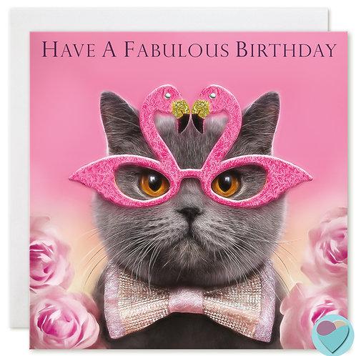 British Shorthair Cat Birthday Card 'HAVE A FABULOUS BIRTHDAY'