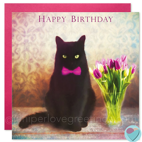 Black Cat Birthday Card UK 'HAPPY BIRTHDAY'