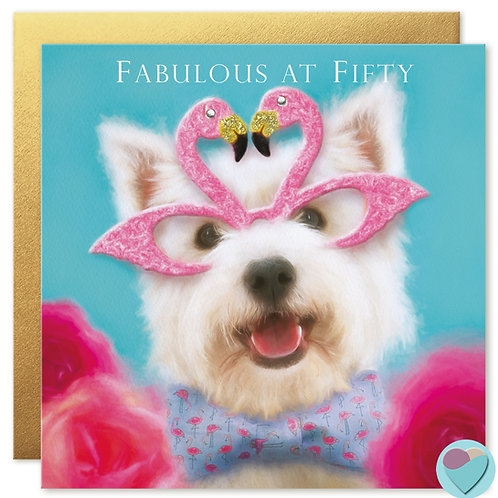 50th Birthday Card 'FABULOUS AT FIFTY'