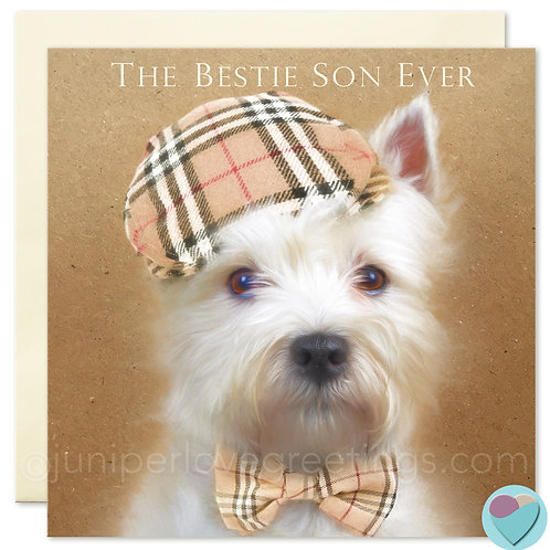 Son Birthday Card Westie Dog Lover Burberry 'THE BESTIE SON EVER'