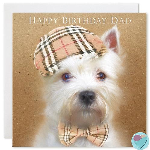 West Highland Terrier Birthday Card HAPPY BIRTHDAY DAD