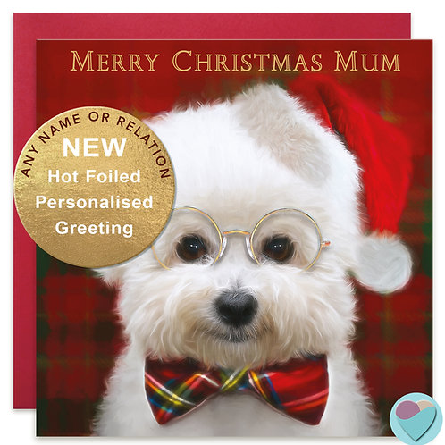 PERSONALISED Bichon Frise Christmas Card