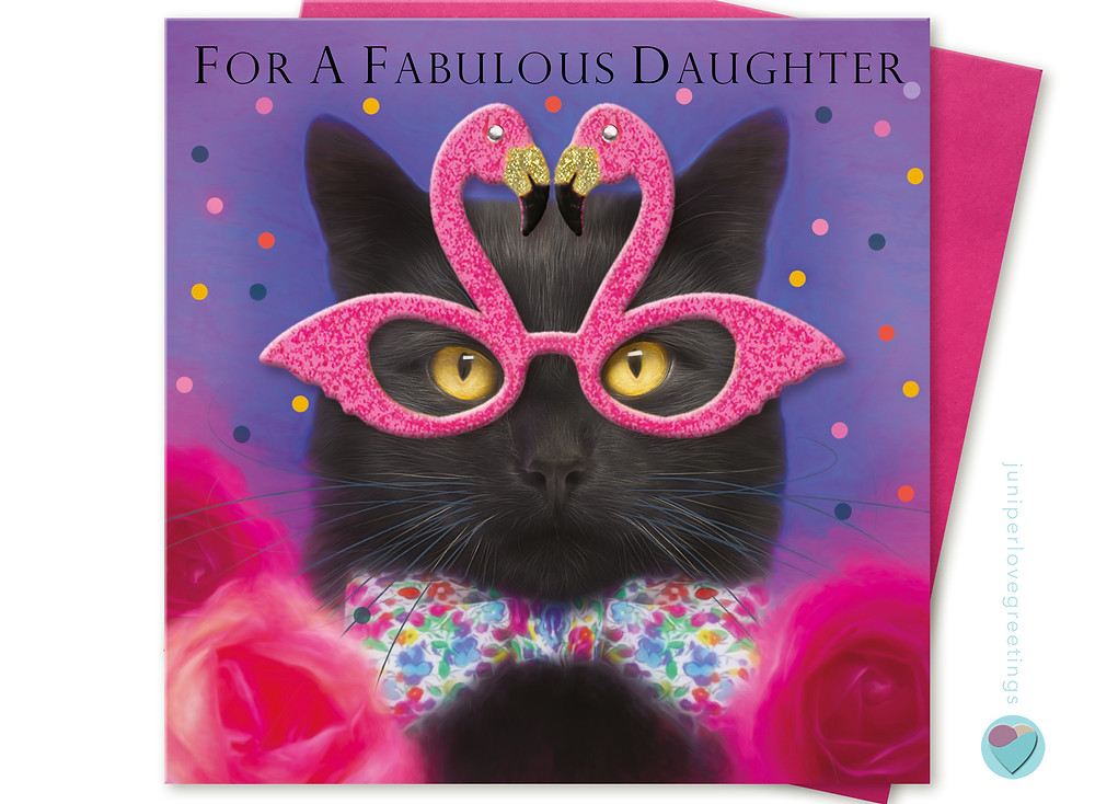 birthday card with picture of black cat wearing a bow tie and flamingo glasses