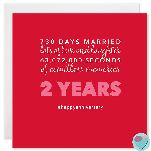 Wedding Anniversary Card '730 DAYS MARRIED'