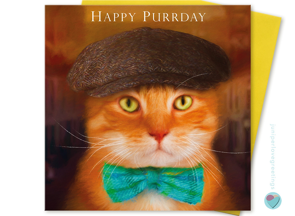 ginger cat wearing flat cap and bow tie birthday card