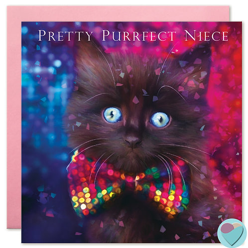 Black Kitten Card Niece 'PRETTY PURRFECT NIECE'