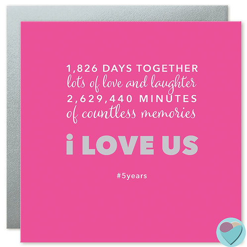 Anniversary Card 5 Years '1,826 DAYS TOGETHER'