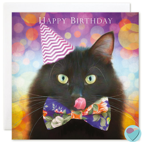 Black Cat Birthday Card 'HAPPY BIRTHDAY'